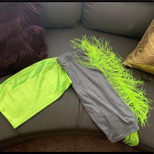 Neon Green fringe biker shorts and tube top